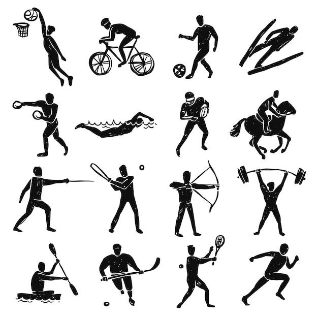 Sport sketch menschen festgelegt Kostenlosen Vektoren