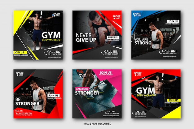 Sport social media banner sammlung Premium Vektoren