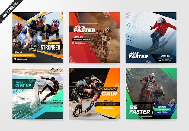 Sport-social media-beitragsschablonen-fahnensatz Premium Vektoren