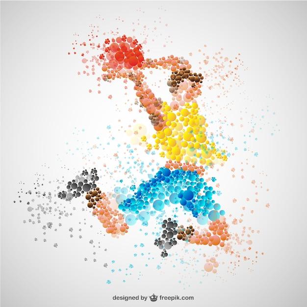 Sport-spieler im wettbewerb vektor Kostenlosen Vektoren