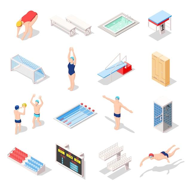 Sport-swimmingpool-isometrische ikonen Kostenlosen Vektoren