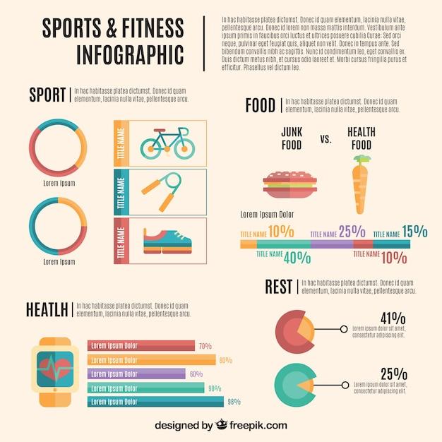 Sport- und fitness infografie flaches design Kostenlosen Vektoren