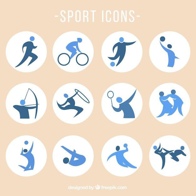 Sport-vektor-icons gesetzt Kostenlosen Vektoren