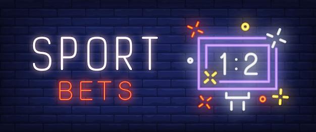 Sport wettet neontext mit anzeigetafel Kostenlosen Vektoren