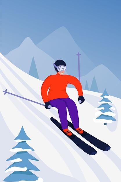 Sportaktivitätsillustration mit skifahrer. Premium Vektoren