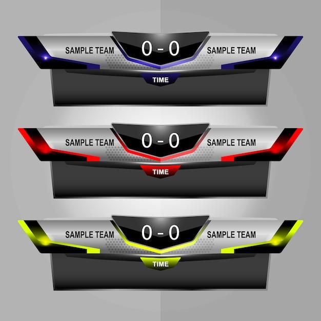 Sportanzeigetafel-sendungsgrafik und untere drittel Premium Vektoren