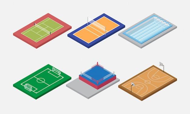 Sportarena und field set isometric vector Premium Vektoren