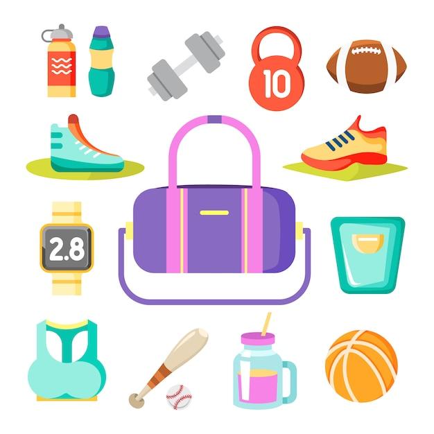 Sportartikel um die sporttasche Kostenlosen Vektoren