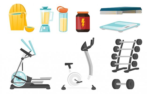 Sportausrüstung cartoon-set Premium Vektoren