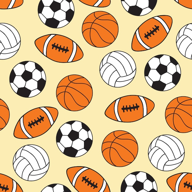 Sportbälle nahtlose muster Premium Vektoren