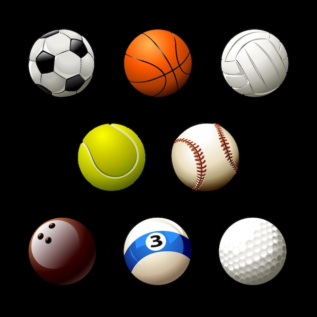 Sportbälle sammlung Kostenlosen Vektoren