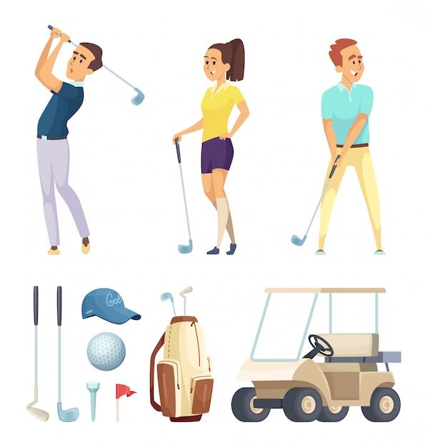 Sportcharaktere und verschiedene werkzeuge für golfspieler. vektor-cartoon-maskottchen Premium Vektoren