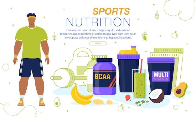 Sporternährung und vitamine werbebanner Premium Vektoren