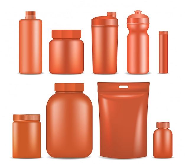 Sporternährungsbehälter-verpackungsspott herauf satz. Premium Vektoren
