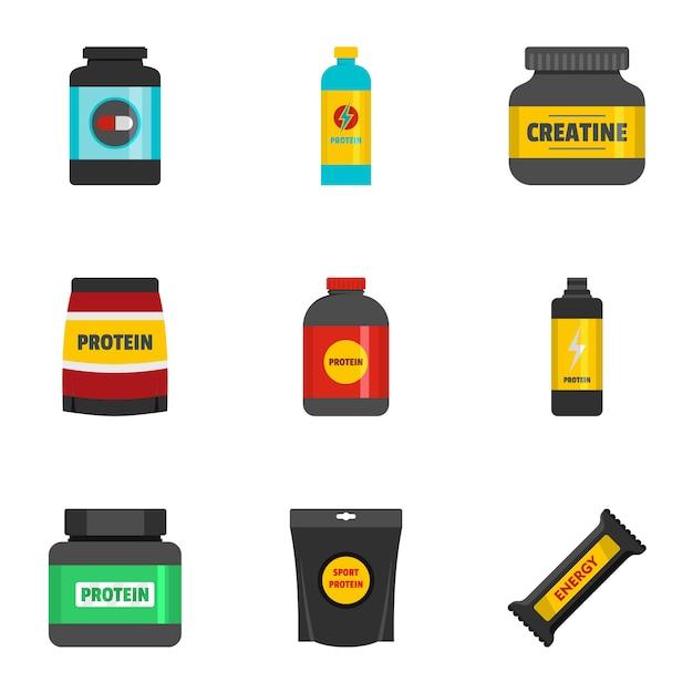 Sporternährungsikonen eingestellt. flache reihe von 9 sporternährung symbole Premium Vektoren