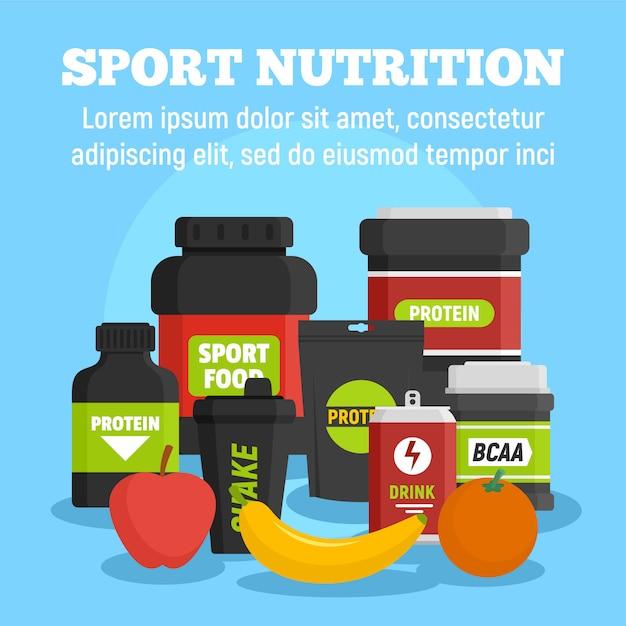 Sporternährungsschablone, flache art Premium Vektoren