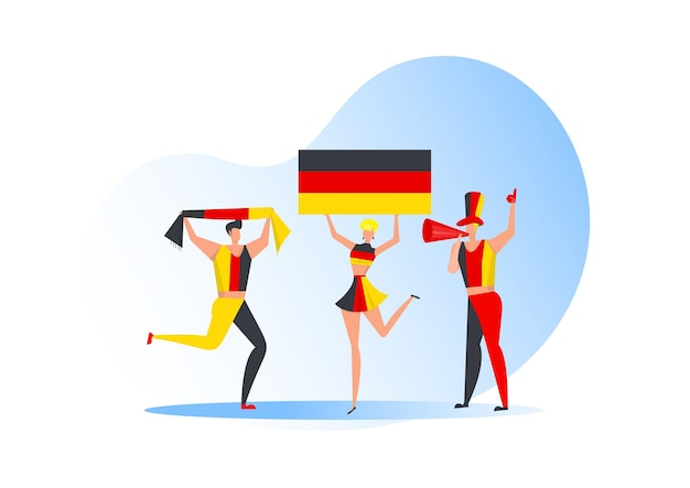 Sportfans, deutsche leute, die eine fußballmannschaft feiern. aktive teamunterstützung fußballsymbol und siegesfeier. Premium Vektoren
