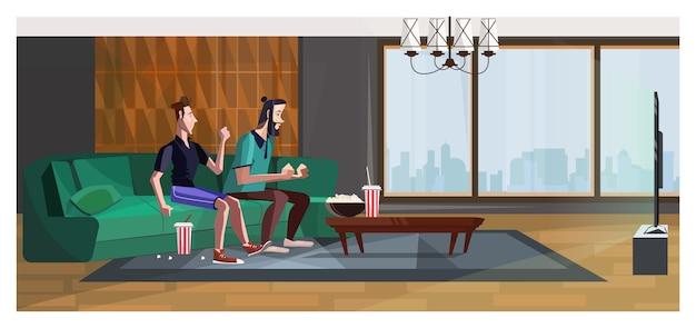 Sportfans, die zu Hause für Illustration des Lieblingsteams zujubeln Kostenlose Vektoren