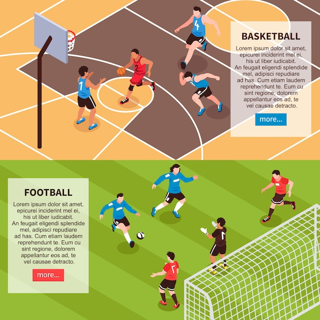 Sportfeldspiele isometrische banner Kostenlosen Vektoren