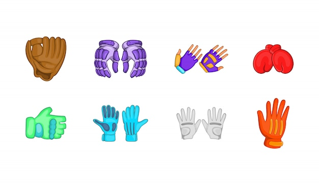 Sporthandschuhe elementsatz. karikatursatz sporthandschuh-vektorelemente Premium Vektoren