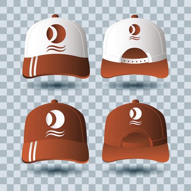 Sportkappen branding zubehör symbol Premium Vektoren