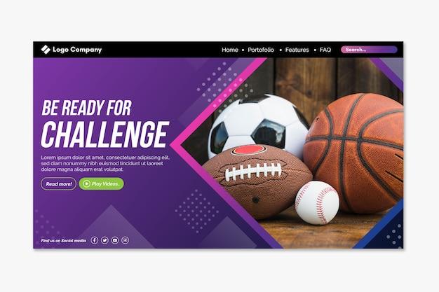 Sportlandingpage mit bild Kostenlosen Vektoren
