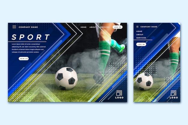 Sportlandungsseitenschablone mit foto Kostenlosen Vektoren