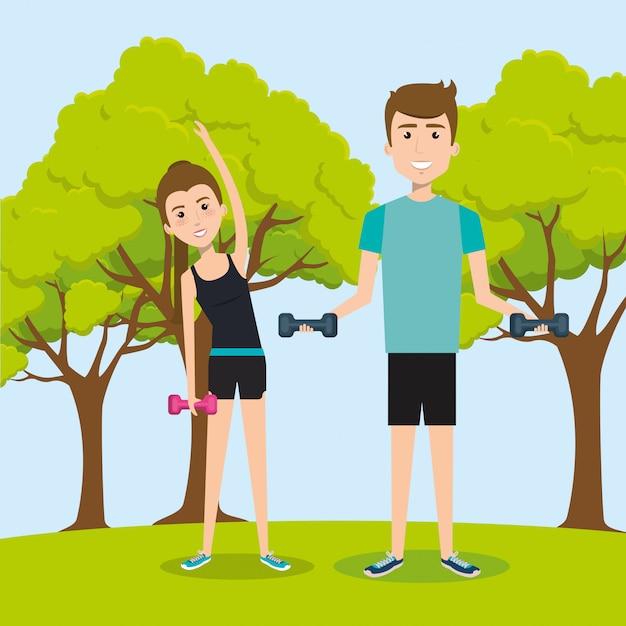 Sportler, die übungscharaktere üben Kostenlosen Vektoren