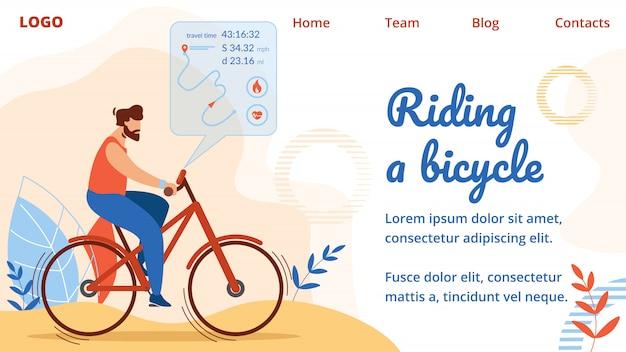 Sportler fahrradfahren mit routenvisualisierung Premium Vektoren