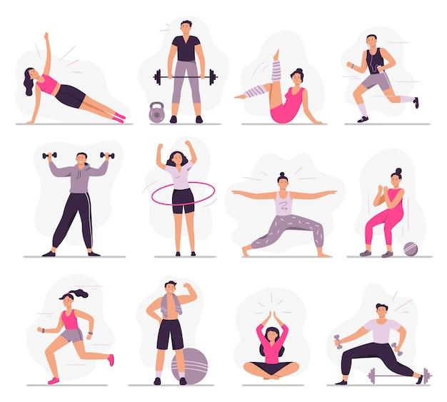 Sportler. fitnessaktivitäten der jungen sportlichen frau, sportmann- und fitnessübungen Kostenlosen Vektoren