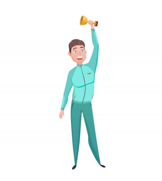 Sportler-goldcup-sieger-charakter-wohnung Kostenlosen Vektoren