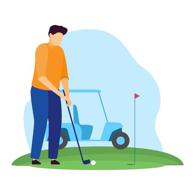 Sportlerillustration, karikaturmanngolfercharakter, der golf auf grünem grasfeld spielt, aufschlagenden ball auf weiß Premium Vektoren