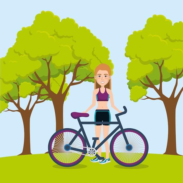 Sportlerin mit fahrrad illustration Kostenlosen Vektoren