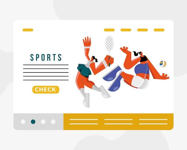 Sportlerinnen, die volley- und tennissportfiguren illustrationsdesign üben Premium Vektoren
