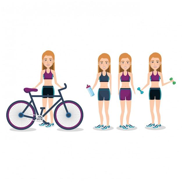 Sportlerinnen mit fahrrad und gewichtheben illustration Kostenlosen Vektoren