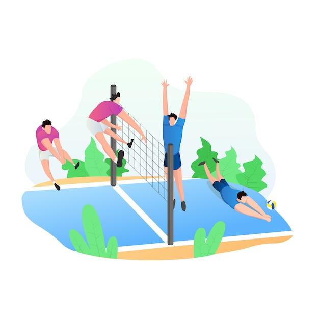 Sportliche aktivitäten mit volleyballspielern Premium Vektoren