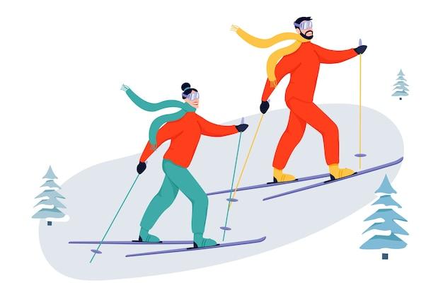 Sportliche aktivitätsillustration mit skifahrern. Premium Vektoren
