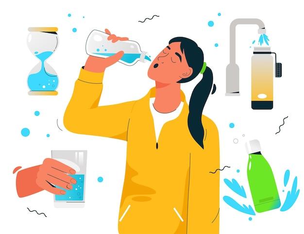 Sportliche durstige frau trinkt sauberes wasser Premium Vektoren