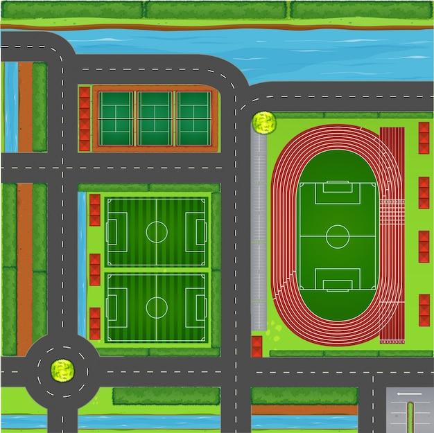 Sportliche komplexe luftaufnahme Premium Vektoren