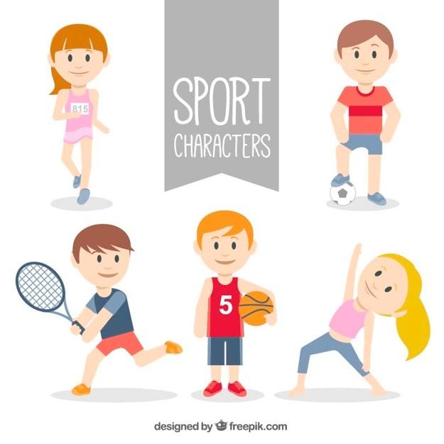 Sportlichen charakter sammlung Premium Vektoren