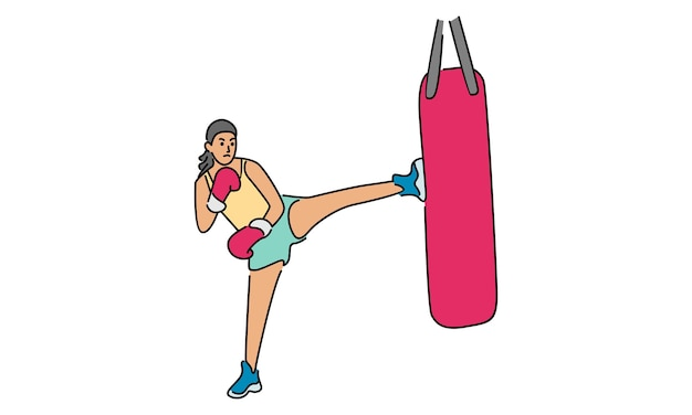 Sportmädchenübung muay thai training mit kniendem boxsandsack Premium Vektoren