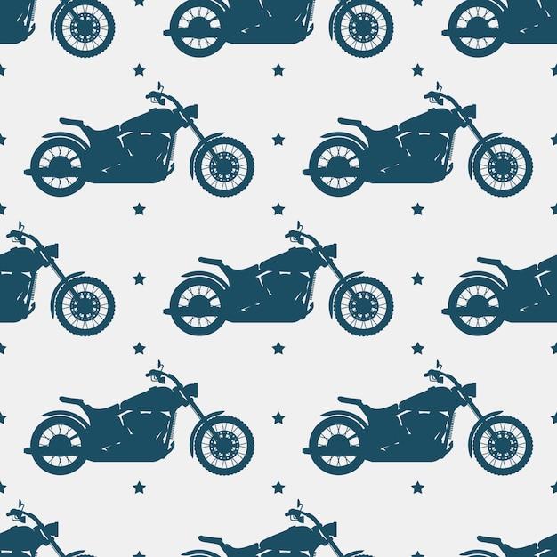 Sportmotorradschattenbild und nahtloses muster - nahtlose beschaffenheit des motorrades Premium Vektoren