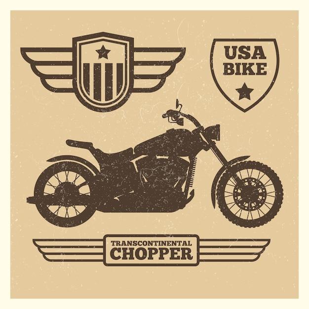 Sportmotorradschattenbild und weinleseflügel beschriftet schmutz Premium Vektoren