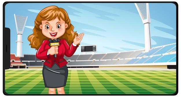 Sportnachrichten auf dem smartphone-bildschirm Kostenlosen Vektoren