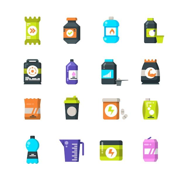 Sportnahrungsergänzungen und flache proteinikonen. energiegetränk- und energieriegelvektorsymbole Premium Vektoren