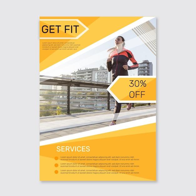 Sportplakat mit bildvorlage Kostenlosen Vektoren