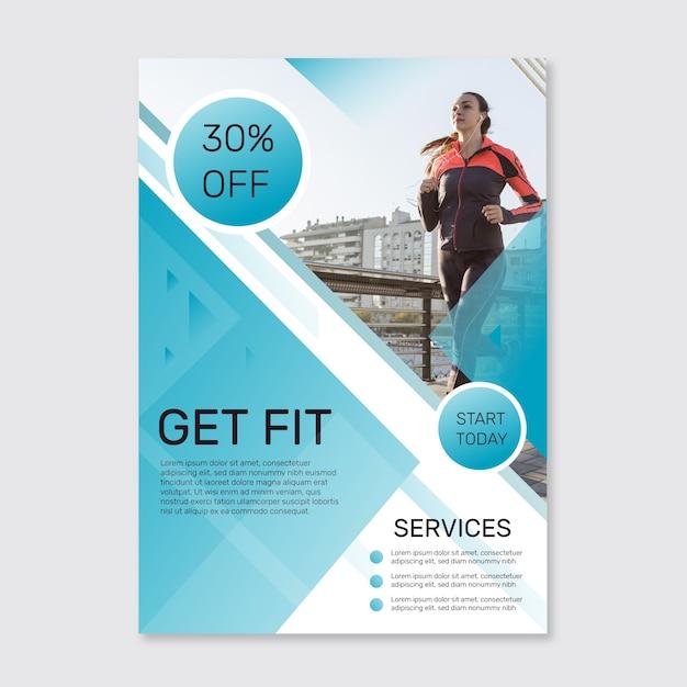 Sportplakat mit fotovorlage Kostenlosen Vektoren