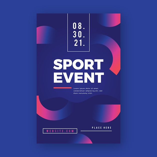 Sportplakat mit kreishälften design Premium Vektoren