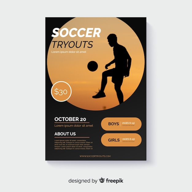 Sportplakatschablone mit foto Kostenlosen Vektoren