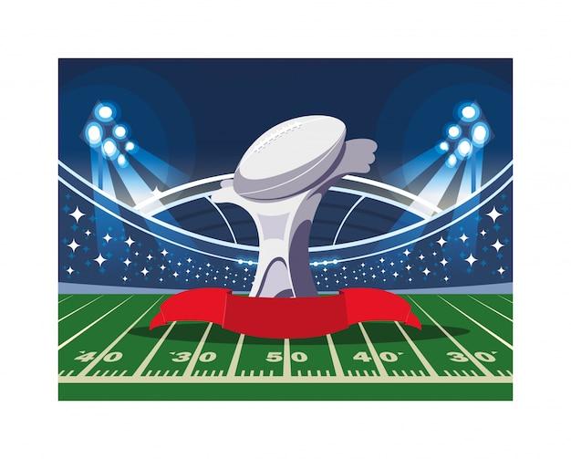 Sportpreis des amerikanischen fußballs im fußballstadion Premium Vektoren